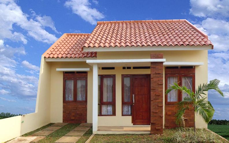 Kombinasi warna cat coklat dan krem pada desain rumah minimalis modern type 45