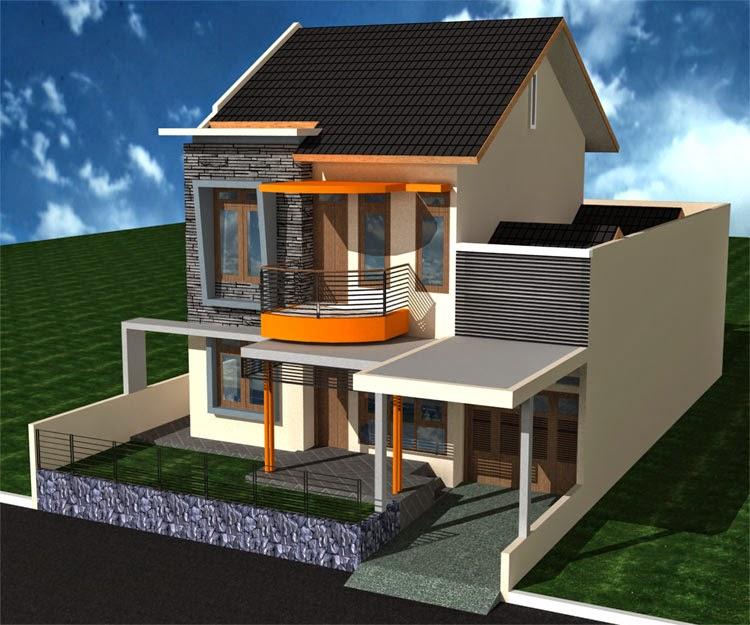 gambar desain rumah tingkat minimalis 2 lantai dengan teras megah tiang kecil cor semen modern